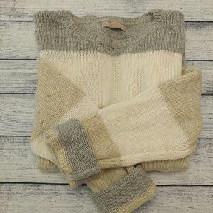 Banana Republic oatmeal/gray/white wool sweater
